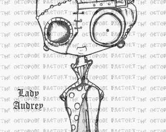 INSTANT DOWNLOAD Steampunk Lady Audrey Digital Stamp image