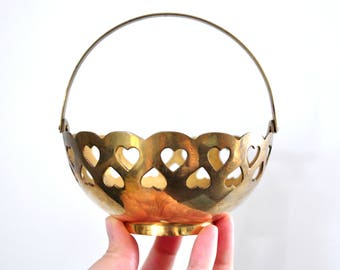 Vintage Brass Heart Basket, Candy Dish