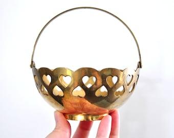 Vintage Brass Heart Basket, Candy Dish