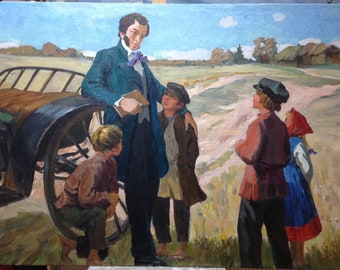 """Original picture of the USSR """"Pushkin and Children"""" 1960s, canvas oil"""