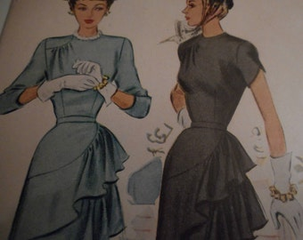Vintage 1940's McCall 7345 Dress Sewing Pattern, Size 16 Bust 34