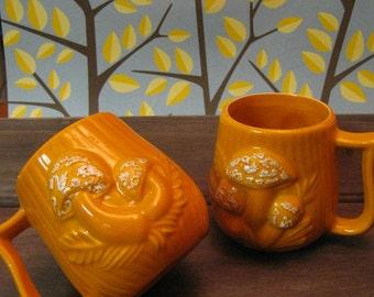 Vintage orange mushroom mugs