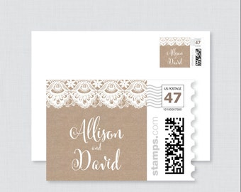 Burlap and Lace Wedding Postage Stamps Design - Rustic Wedding Invitation Stamp Design - Personalized Wedding Stamps for Invitations 0002