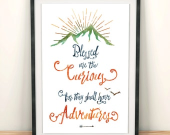 Printable Kids Gift - Curiousity Quote Art Print - Art for Kids - Life is an Adventure - Be Curious Typography Print - Gift for Children