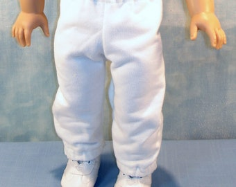 18 Inch Doll Clothes - White Sweatpants handmade by Jane Ellen to fit 18 inch dolls