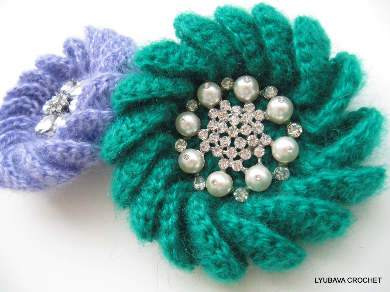 Crochet PATTERN, Crochet Brooch Pattern, Mohair Flower Brooch, DIY ...