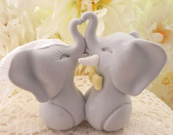 Wedding Cake Topper, Light Grey Elephants and Yellow Bow Tie, Bride and Groom Keepsake, Fully Custom