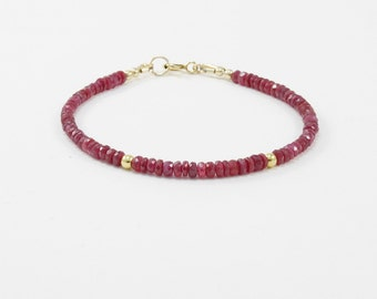 Genuine ruby bracelet Gold filled Dainty red gemstone bracelet July birthstone