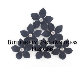 Gray Wedding, Wedding Hair Flowers, Bridal Flower Hair - 6 Charcoal Grey Harper Jasmine Hair Flower Pins - Rhinestone Centers