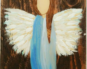 Limited Time pricing! Earth Angel my Guardian Dear, hand painted Angels, Personalised Guardian Angel or Memorial