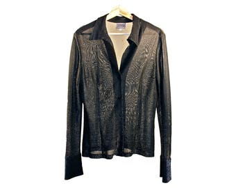 vintage Versace Jeans Couture button-down - classic black shirt, sheer with metallic threading from the 1990s