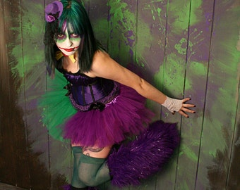 The Joker adult tutu mini micro purple green skirt Adult halloween costume dance gothic derby --You Choose Size - Sisters of the Moon