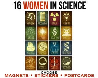 16 Women In Science Postcards, Vinyl Stickers or Fridge Magnets. Rock Star Scientist Geek Stationary, Science Teacher Gift.