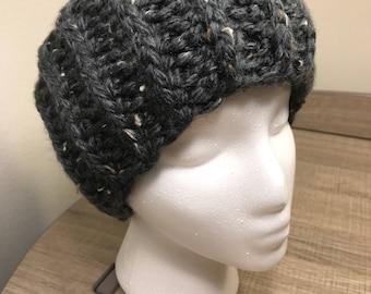 Blue Gray Tweed Crochet Headband / Earwarmer
