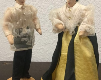 Vintage Filipino Couple Stockinette Dolls on wooden base