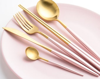 30-Piece Sakura Pink Gold  - Food Grade Forged Stainless Steel Silverware - Flatware Set For 6 Persons