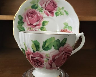 Queen Anne Roses Teacup and Saucer