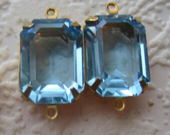 24MM, 2 Ring, Swarovski Crystal, Light Sapphire, Unfoiled, Rectangle, Octagon, Rhinestone, s, Brass, OB, Prong, Setting, Connector,