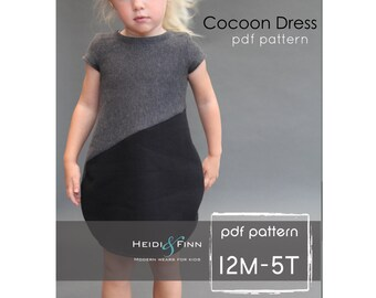 Cocoon dress PDF pattern and tutorial 12m-5T  tunic dress jumper  easy sew