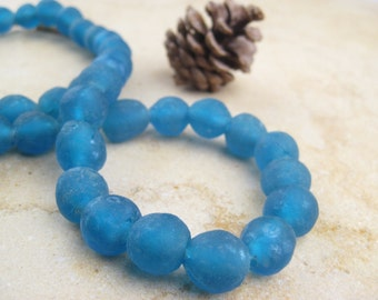 Bahama Blue Recycled Glass Beads: World's Most Eco-Friendly Beads! Ghana Beads - African Beads - Wholesale Glass Beads - Made of Bottles 500