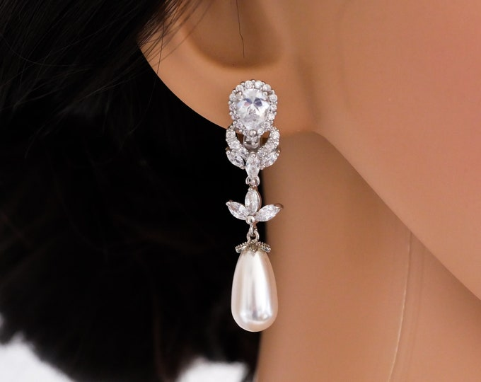 Bridal Pearl drop earrings, Crystal, clip on and earpost, silver, rose gold, yellow gold, bridal jewellery, brides, mother bride, Prom