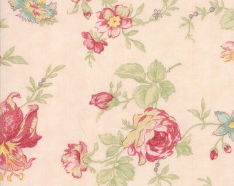 3 SISTERS POETRY Floral Romantic Blooms Blush For Moda Fabric 1 Yard