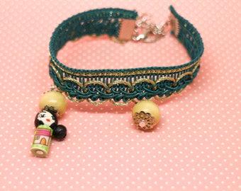 Bracelet mini doll teal blue turquoise bead