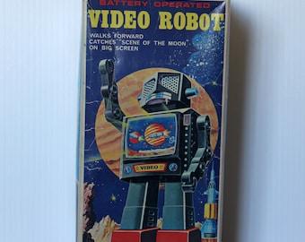 Vintage Tin Toy Robot in Original Box