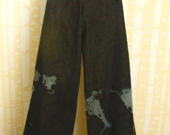 Blue Denim Willow Pants, size SMALL or MEDIUM, shibori dyeing on blue stretch denim with pockets