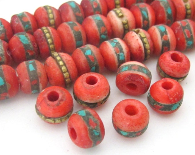 10 Beads-Rondelle shape ethnic Tibetan dyed red bone beads with turquoise coral inlay 8 mm  - NB109