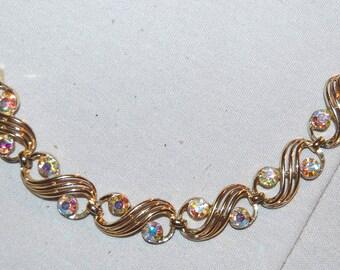 Aurora Borealis Bracelet  / Rhinestone / Gold Tone / Vintage / old jewelry