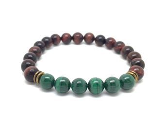 Men bracelet brown/red, green and bronze leaves and natural Malachite-