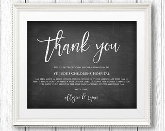 Lieu of Wedding Favors Sign, Instant Download, Editable Text, Thank You Charity Printable, Donation Sign, PDF Template, Digital, 8x10 #CH11