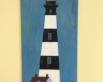New England Lighthouse Hand Painted on Reclaimed Recycled Wood: Lighthouse Pallet Art Wall Art Signs