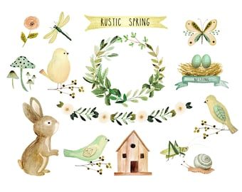 Watercolor bunny, floral clipart, spring clipart, rustic clipart, baby clipart, bunny clipart, baby shower clipart