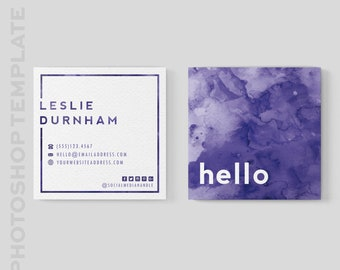 Square Business Card Template - Square Moo Card - 3x3 business card - Photoshop Template - Watercolor Business Card - Instant digital file