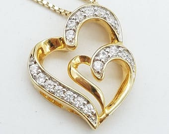Vintage Gold Over Sterling Silver Double Heart CZ Pendant Necklace - 18""