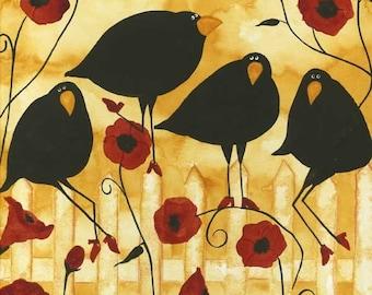 Farmhouse Poppy Flowers Crow Blackbird Raven Debi Hubbs Folk Art Whimsical Garden
