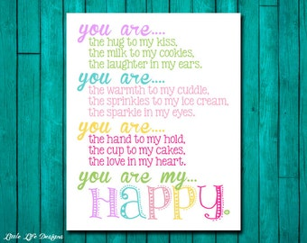 You Are My Happy Wall Art. Girls Room Decor. Girls Wall Art. Girls Nursery Wall Art. Girls Wall Decor. Girls Nursery Decor. Little Girl Room
