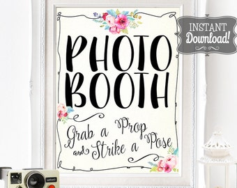 Photo Booth Poster - INSTANT DOWNLOAD - Wedding & Birthday PRINTABLE Party Art Watercolor Floral Sign - 3 sizes included by Sassaby Weddings