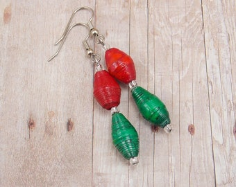 Longer Paper Bead Christmas Earrings - Rwandan Paper Beads - Red and Green - Holiday