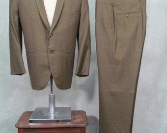 1960s Suit Olive Green 40S Flat Front Cuffed Rockabilly Ricky
