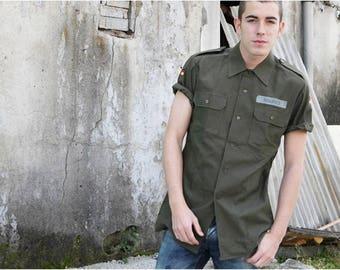 New 1980s German army short sleeve olive  military shirt khaki jacket Bundeswehr Unissued