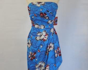 1940 1950 Blue Hawaiian Sarong Dress with Hibiscus Flowers Rockabilly VLV