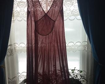 Long sheer burgundy nightgown