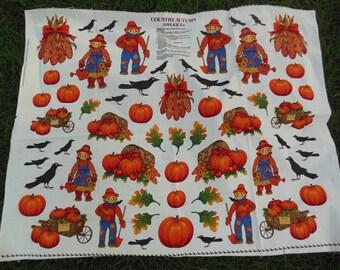 Fall Autumn Country Applique Panel, Scarecrows, Pumpkins, Leaves, Crows, Corn, Craft Panel, Bushel Basket