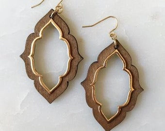 Taking Shape Earrings, Dark Brown