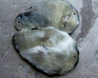 Slice Pendant, Statement, Large Lucite Bead, Connector, Link, Faux Agate Slice, Boho Bead, Unique Bead, Lucite Pendant, Marble Bead, 2 Beads