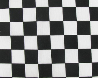 """CHECKERED FLAG FABRIC -  2 Sizes, Racing checks, yardage, half or full yards, nas car,  white and black checkerboard print cotton 45"""" wide"""