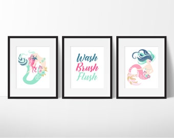 Mermaid Bathroom Art, Girls Bathroom Art, Mermaids Bathroom Signs